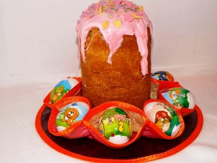 Пасхальная  салфетка  для  яиц и кулича своими руками - фото