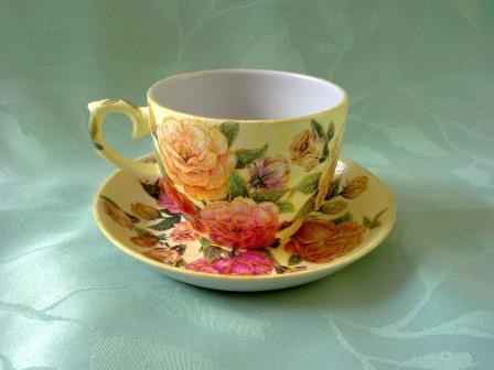 Чашка и блюдце – декупаж чайной пары, мастер класс с фото