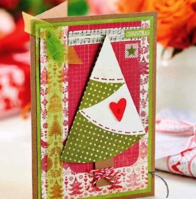 Новогодняя открытка с елочкой скрапбукинг