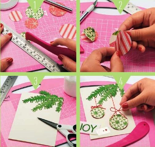 открытка с елочными шарами как сделать