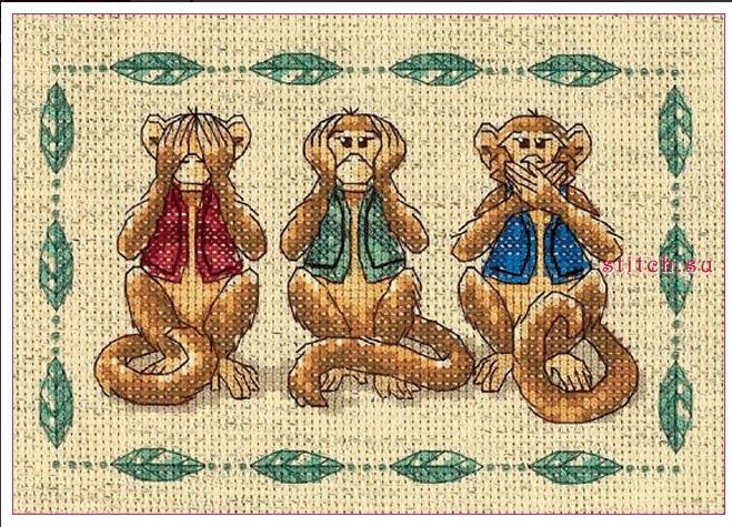 Схема вышивки 3 Обезьяны крестом