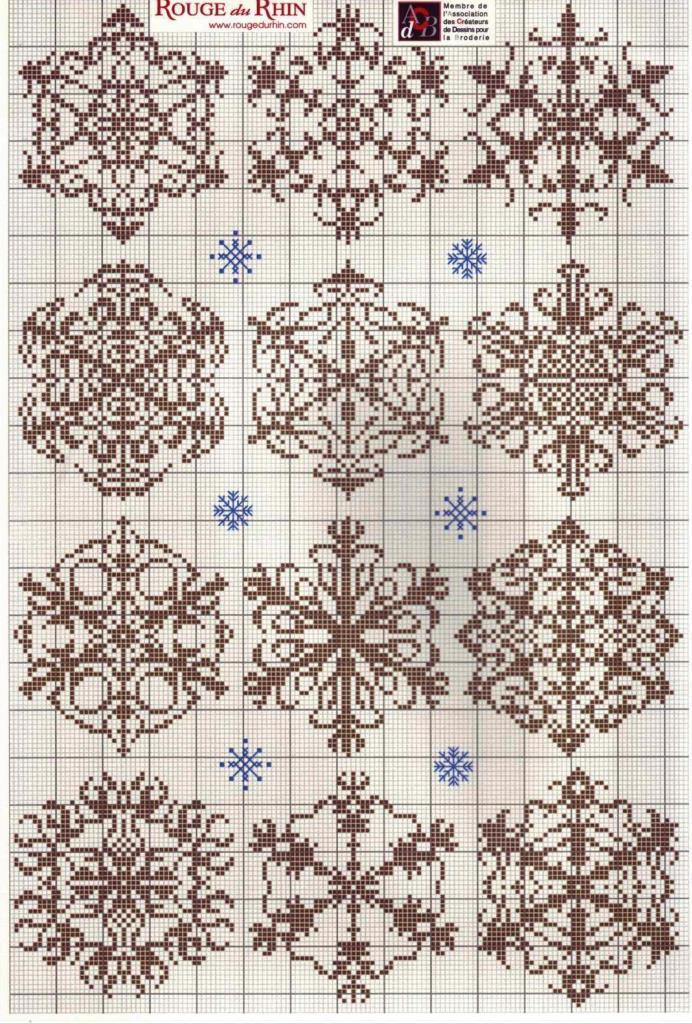 схема вышивка снежинка крестом 1